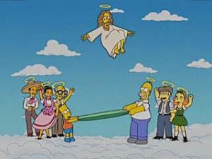 Homer y Bart en el cielo católico conviviendo con Jesús