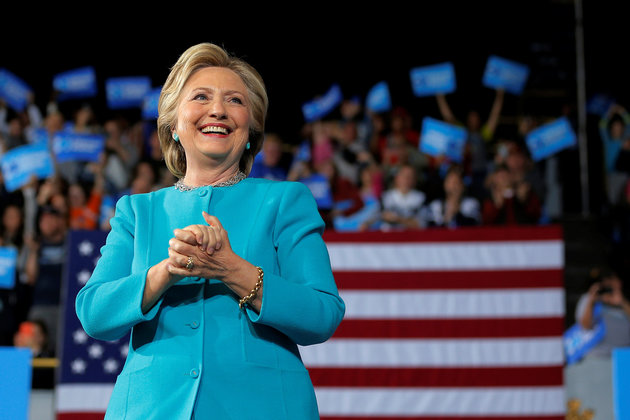 U.S. Democratic presidential nominee Hillary Clinton takes the stage at a campaign rally in Cleveland