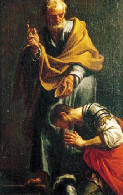 Imagen representando el bautismo de Cornelio