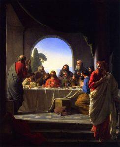 Imagen de judas dejando la última cena