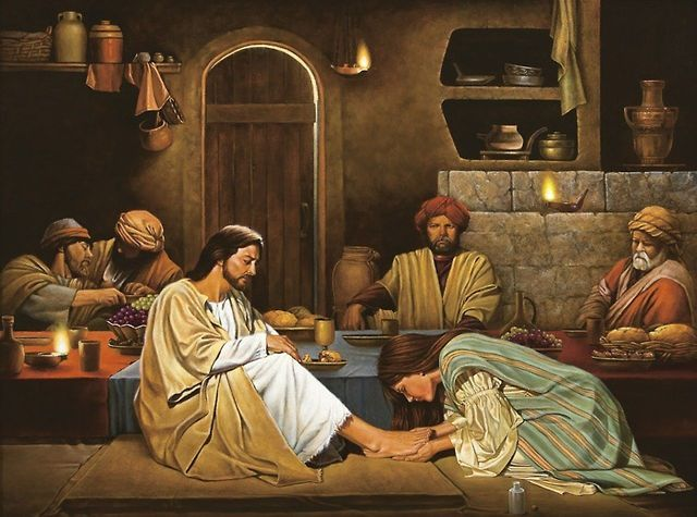 Prostituta lava los pies a Jesus con sus lagrimas