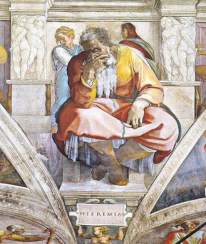 El profeta Jeremías en una pintura de Miguel Angel