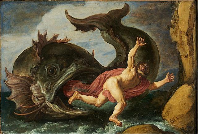 Jonás es tragado por el gran pez