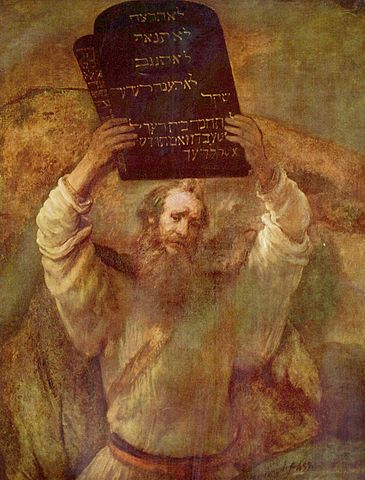 Moisés bajando del monte Sina[i